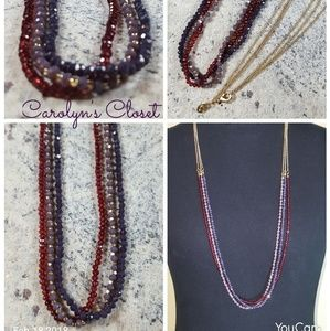3 Strand Sparkly Long Necklace Red, Purple, Gold